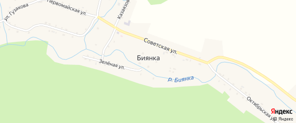 Советская улица на карте села Биянки с номерами домов