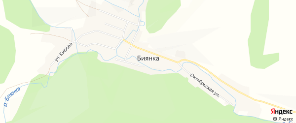 Карта села Биянки в Челябинской области с улицами и номерами домов