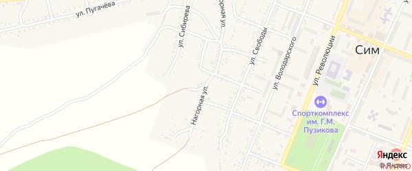 Нагорная улица на карте Сима с номерами домов