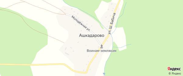 Школьная улица на карте деревни Ашкадарово с номерами домов