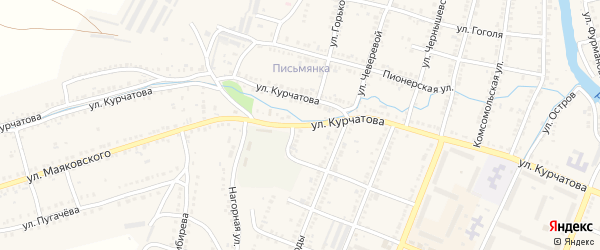 Улица Курчатова на карте Сима с номерами домов