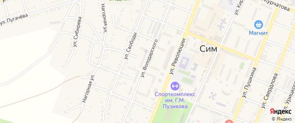 Улица Володарского на карте Сима с номерами домов