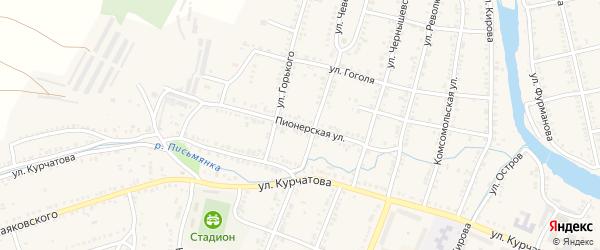 Пионерская улица на карте Сима с номерами домов