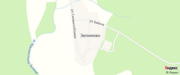 Улица С.Юлаева на карте деревни Зелимово с номерами домов