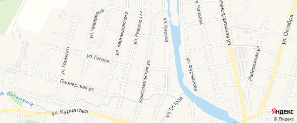 Комсомольская улица на карте Сима с номерами домов