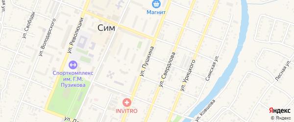 Улица Пушкина на карте Сима с номерами домов