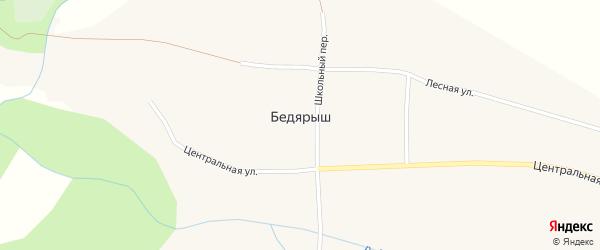 Центральная улица на карте села Бедярыша с номерами домов