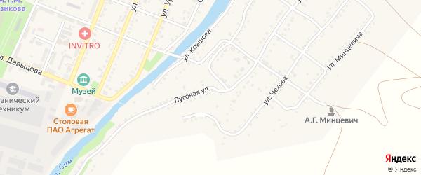 Луговая улица на карте Сима с номерами домов