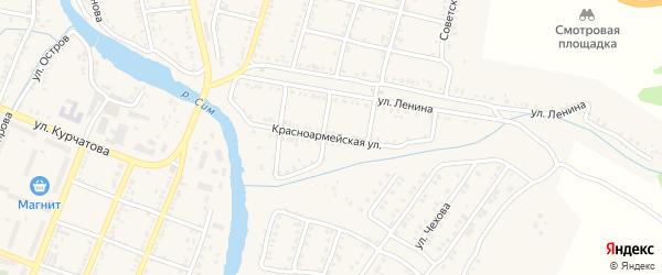 Красноармейская улица на карте Сима с номерами домов