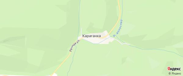 Карта поселка Караганки города Сима в Челябинской области с улицами и номерами домов