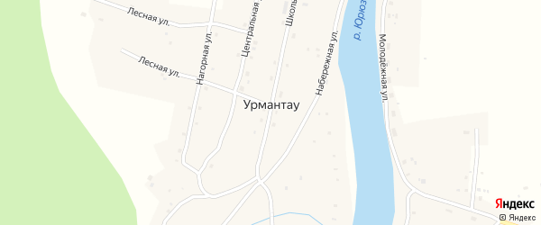 Центральная улица на карте села Урмантау с номерами домов
