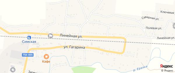 Линейная улица на карте Сима с номерами домов