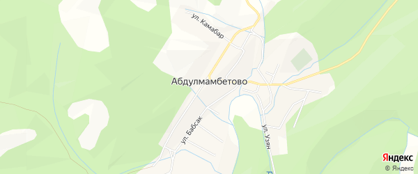 Карта деревни Абдулмамбетово в Башкортостане с улицами и номерами домов