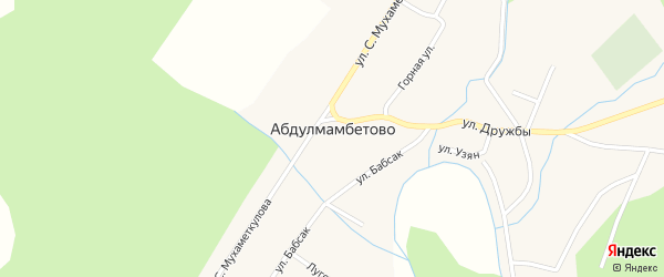 Горная улица на карте деревни Абдулмамбетово с номерами домов