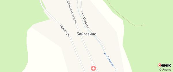 Лесная улица на карте деревни Байгазино с номерами домов