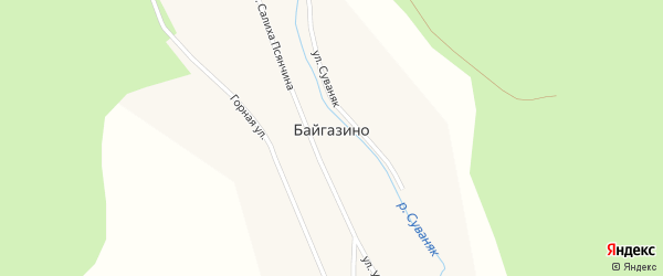Улица Суваняк на карте деревни Байгазино с номерами домов