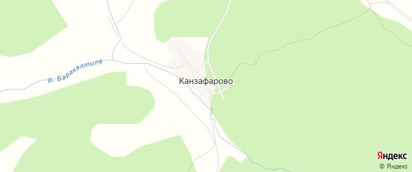 Карта деревни Канзафарово в Башкортостане с улицами и номерами домов