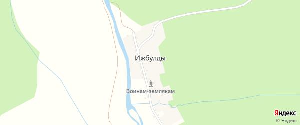 Улица Худайбердина на карте деревни Ижбулды с номерами домов