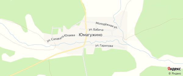 Карта деревни Юмагужино в Башкортостане с улицами и номерами домов