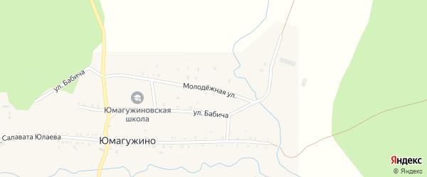 Молодежная улица на карте деревни Юмагужино с номерами домов