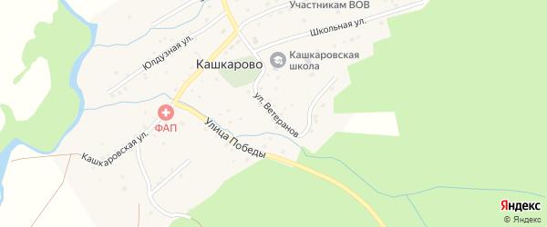 Улица Ветеранов на карте села Кашкарово с номерами домов