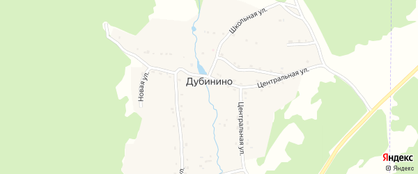Центральная улица на карте села Дубинино с номерами домов