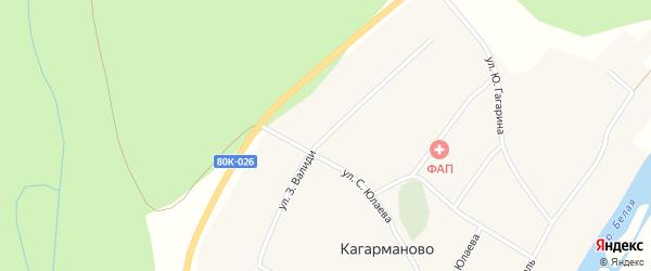 Улица З.Валиди на карте деревни Кагарманово с номерами домов