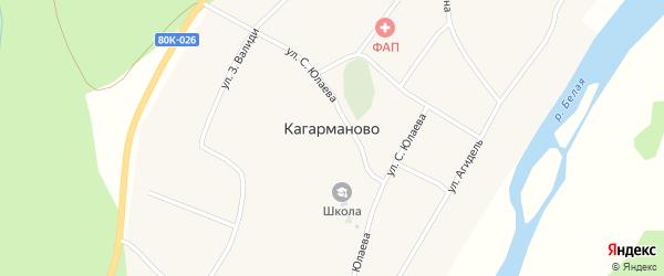 Улица Т.Кусимова на карте деревни Кагарманово с номерами домов