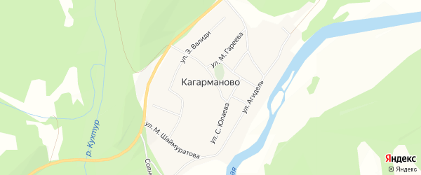 Карта деревни Кагарманово в Башкортостане с улицами и номерами домов