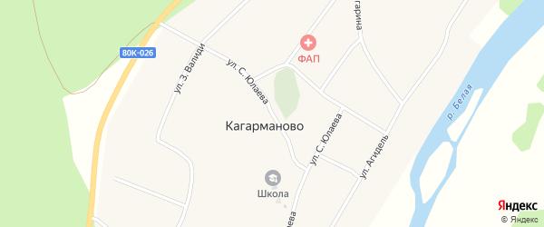 Улица С.Юлаева на карте деревни Кагарманово с номерами домов