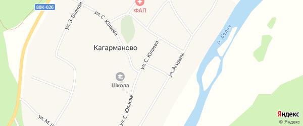Улица М.Гафури на карте деревни Кагарманово с номерами домов