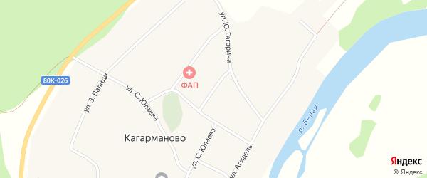 Молодежная улица на карте деревни Кагарманово с номерами домов