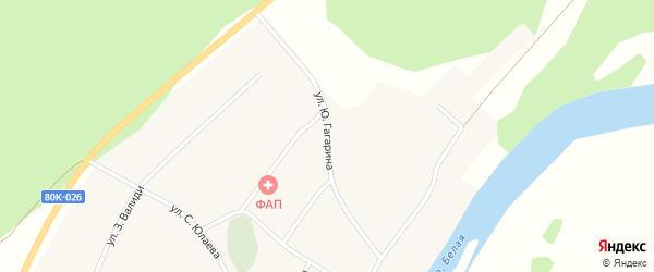Улица Ю.Гагарина на карте деревни Кагарманово с номерами домов