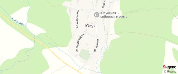 Карта деревни Юлука в Башкортостане с улицами и номерами домов