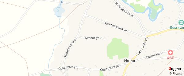 Луговая улица на карте села Ишля с номерами домов