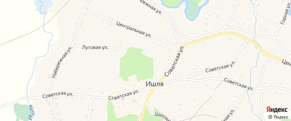 Советская улица на карте села Ишля с номерами домов