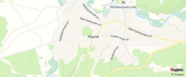 Карта села Ишля в Башкортостане с улицами и номерами домов