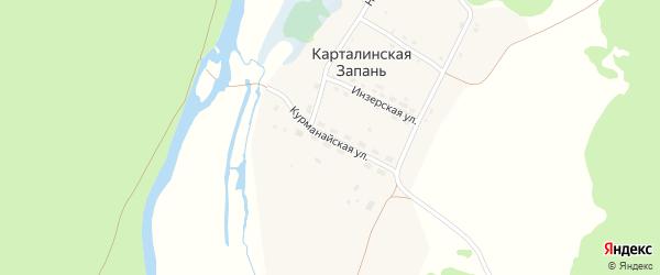 Курманайская улица на карте села Карталинской Запани с номерами домов