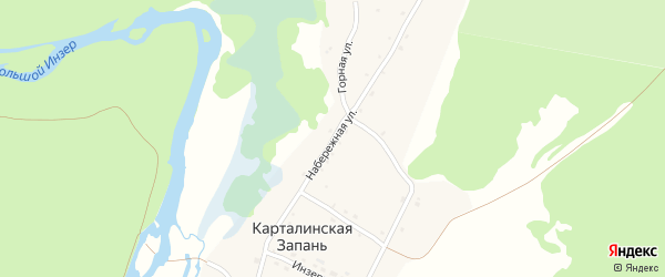 Набережная улица на карте села Карталинской Запани с номерами домов