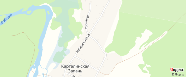 Горная улица на карте села Карталинской Запани с номерами домов