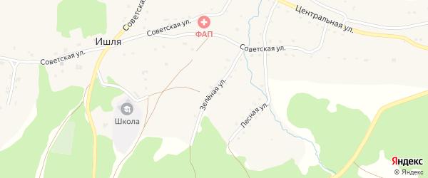 Зеленая улица на карте села Ишля с номерами домов