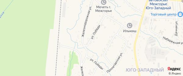 Улица Победы на карте Межгорья с номерами домов