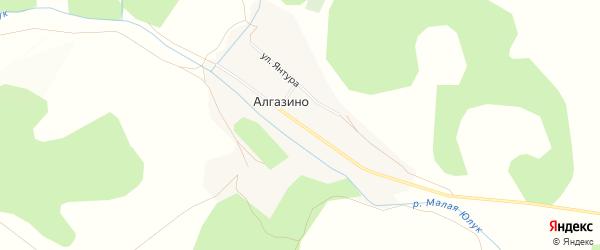 Карта деревни Алгазино в Башкортостане с улицами и номерами домов