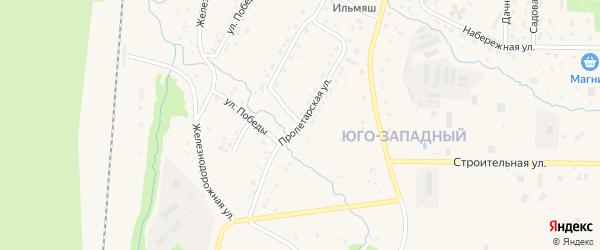 Пролетарская улица на карте Межгорья с номерами домов