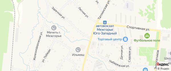 Заречная улица на карте Межгорья с номерами домов
