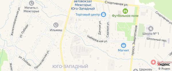 Набережная улица на карте Межгорья с номерами домов