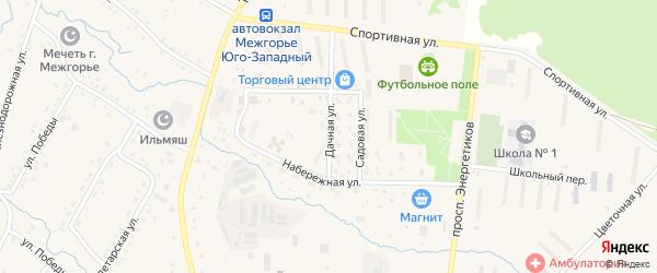 Дачная улица на карте Межгорья с номерами домов