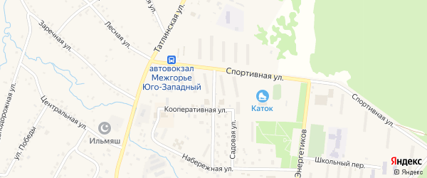 Кооперативная улица на карте Межгорья с номерами домов