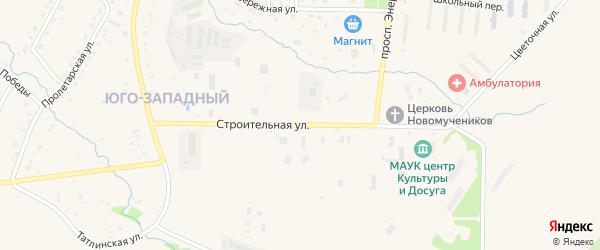Строительная улица на карте Межгорья с номерами домов