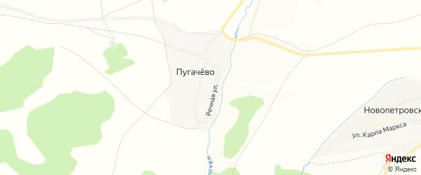 Карта деревни Пугачево в Башкортостане с улицами и номерами домов